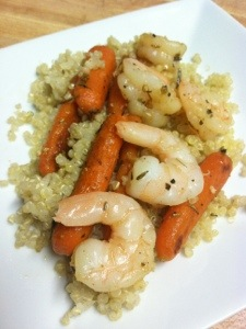 Sauteed Shrimp and Carrots over Quinoa
