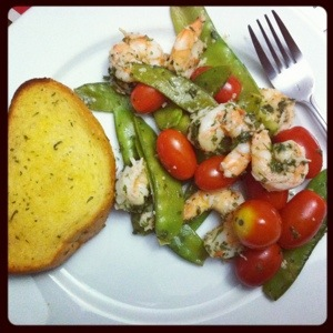 Sauteed Shrimp with Snow Peas and Tomatoes